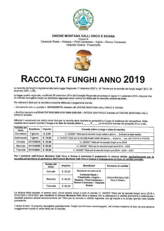 Calendario Funghi.Valprato Manifesto Raccolta Funghi Anno 2019 Valle Soana